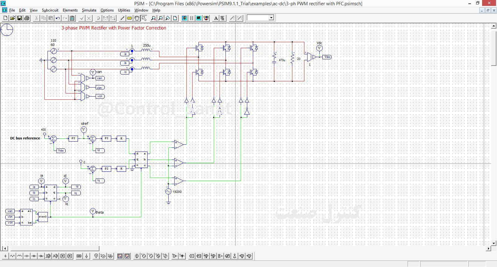 نمونه شماتیک مدار در نرم افزار PSIM